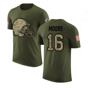 J'Mon Moore Cleveland Browns Men's Legend Olive Salute to Service T-Shirt