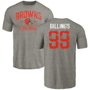 Andrew Billings Cleveland Browns Youth Gray Distressed Name & Number Tri-Blend T-Shirt