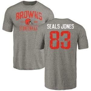 Ricky Seals-Jones Cleveland Browns Men's Gray Distressed Name & Number Tri-Blend T-Shirt