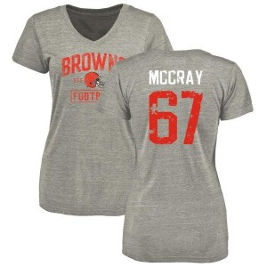 Justin McCray Cleveland Browns Women's Gray Heather Distressed Name & Number Tri-Blend V-Neck T-Shirt