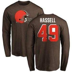 J.T. Hassell Cleveland Browns Men's Brown Any Name & Number Logo Long Sleeve T-Shirt -