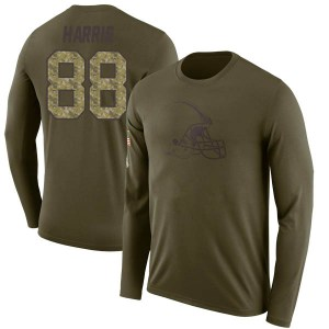 Demetrius Harris Cleveland Browns Youth Legend Olive Salute to Service Sideline Long Sleeve T-Shirt