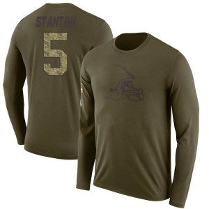 Drew Stanton Cleveland Browns Youth Legend Olive Salute to Service Sideline Long Sleeve T-Shirt