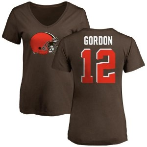 Josh Gordon Cleveland Browns Women's Brown Pro Line Any Name & Number Logo Slim Fit T-Shirt -