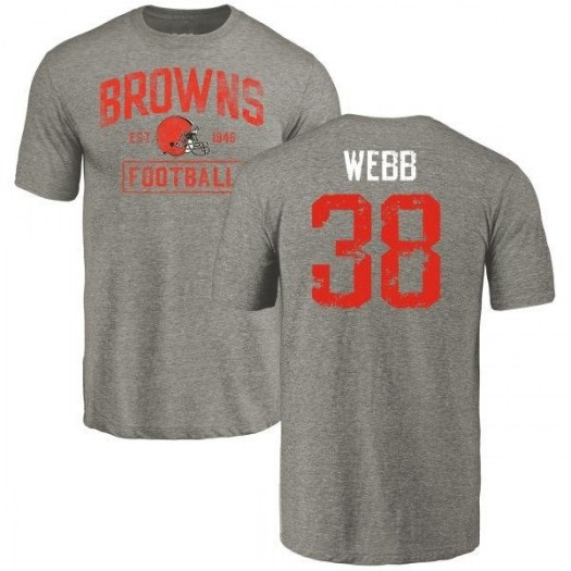 B.W. Webb Cleveland Browns Men's Gray Distressed Name & Number Tri-Blend T-Shirt