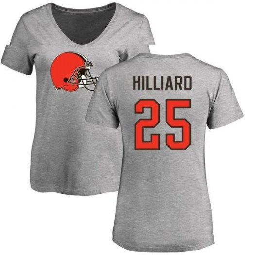Dontrell Hilliard Cleveland Browns Women's Pro Line Name & Number Logo Slim Fit T-Shirt - Ash