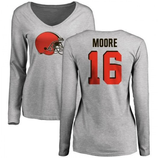 J'Mon Moore Cleveland Browns Women's Name & Number Logo Slim Fit Long Sleeve T-Shirt - Ash