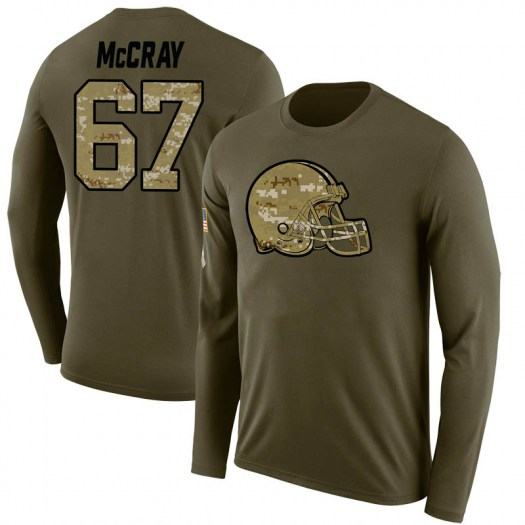 Justin McCray Cleveland Browns Men's Legend Olive Salute to Service Sideline Long Sleeve T-Shirt