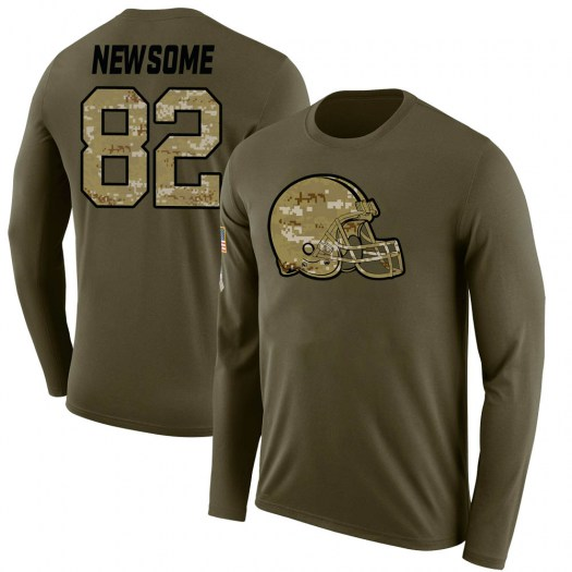 Ozzie Newsome Cleveland Browns Men's Legend Olive Salute to Service Sideline Long Sleeve T-Shirt