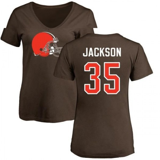 Darius Jackson Cleveland Browns Women's Brown Pro Line Any Name & Number Logo Slim Fit T-Shirt -