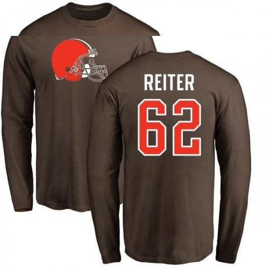 Austin Reiter Cleveland Browns Men's Brown Pro Line Any Name & Number Logo Long Sleeve T-Shirt -