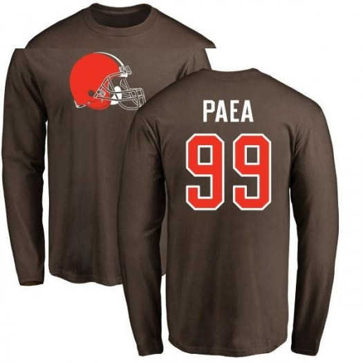 Stephen Paea Cleveland Browns Men's Brown Pro Line Any Name & Number Logo Long Sleeve T-Shirt -