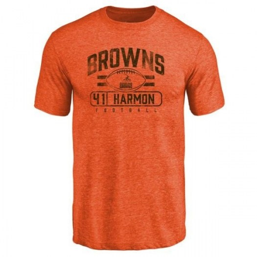 Ja'Darion Harmon Cleveland Browns Men's Orange Pro Line by Branded Flanker Tri-Blend T-Shirt -